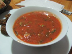 red soup: minestrone or gaspacho